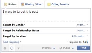 Target post on Facebook