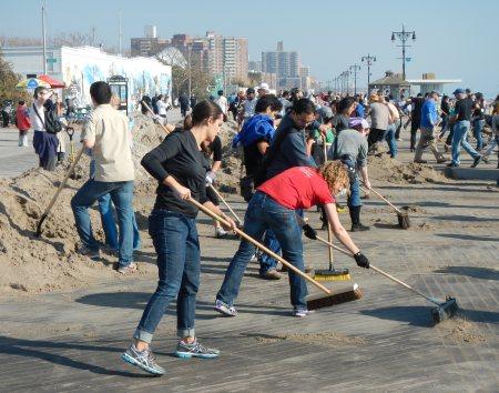 Volunteers in Brooklyn after hurricane
