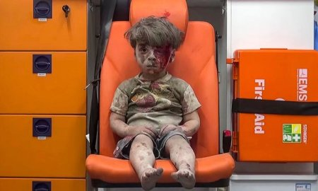 Boy in ambulance in Syria