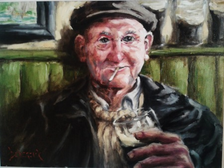 Old Man drinking a pint by Robert Devereux