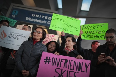 United Airlines protests.