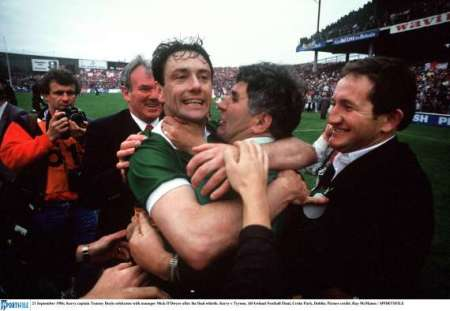 Tommy Doyle celebrates with Mick O'Dwyer